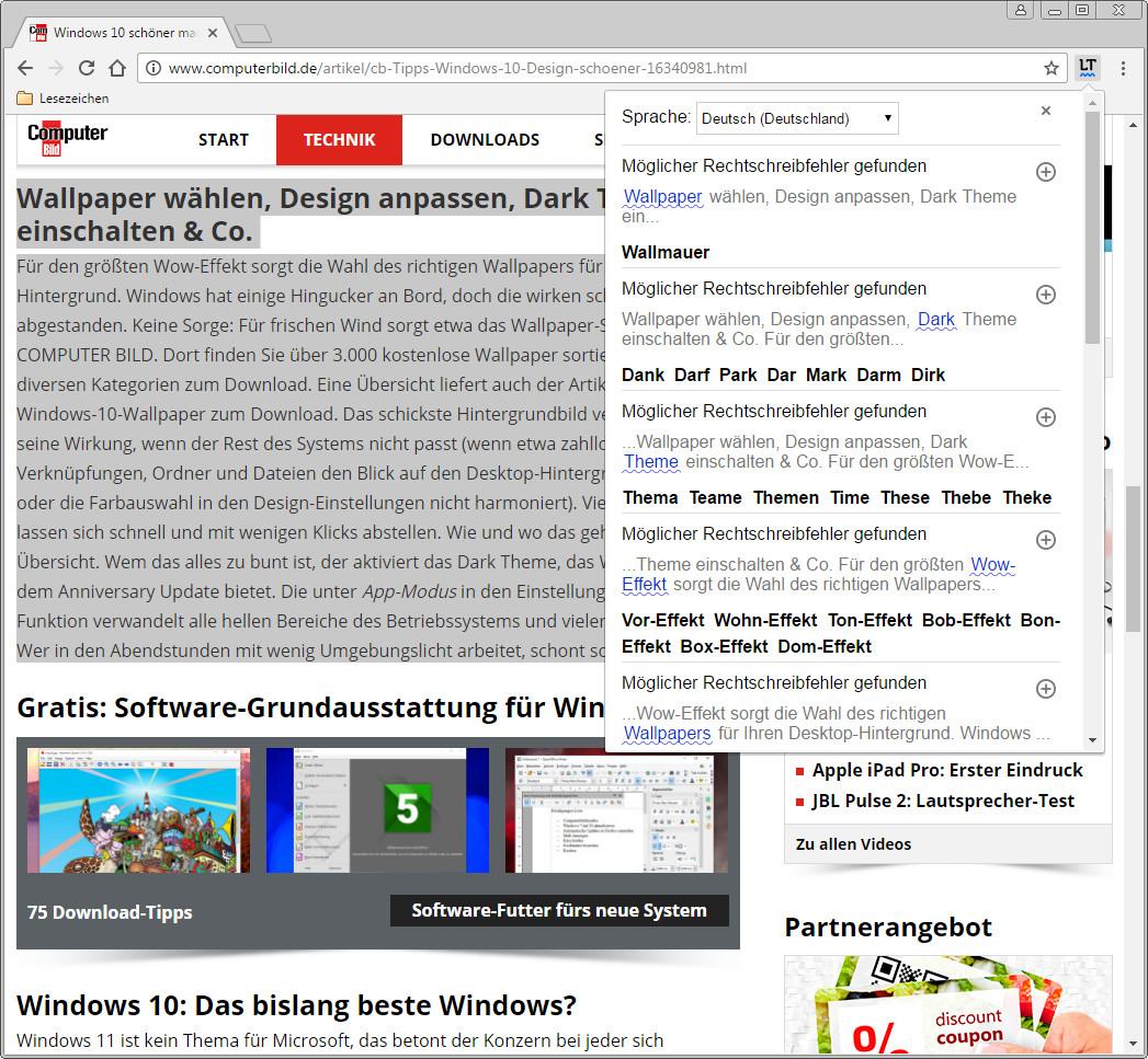 Screenshot 1 - LanguageTool für Chrome