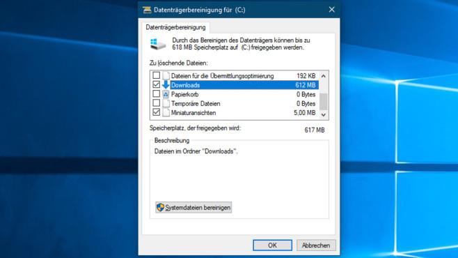Datenträgerbereinigung säubert Downloads-Ordner ©COMPUTER BILD