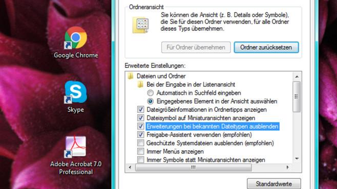 Dateiendungen anzeigen: Einstellung inkonsequent ©COMPUTER BILD