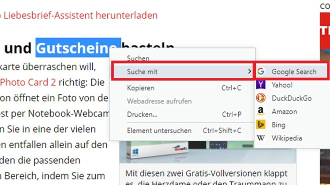 Google, Yahoo, Bing & Co. im Kontextmenü ©COMPUTER BILD