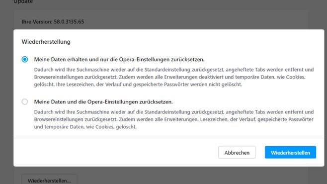 Opera zurücksetzen ©COMPUTER BILD