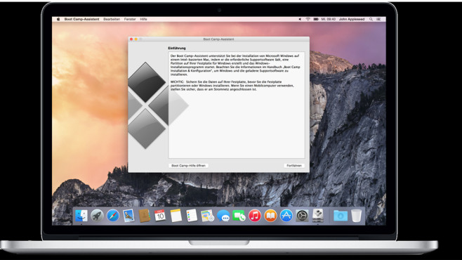 Windows auf einem Macbook installieren ©Apple