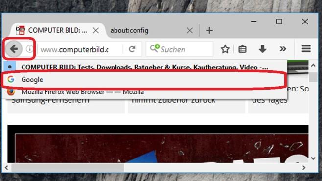 Löschtaste im Browser ©COMPUTER BILD