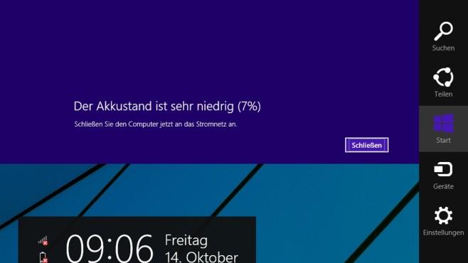 Windows-C öffnet die Charms-Bar ©COMPUTER BILD