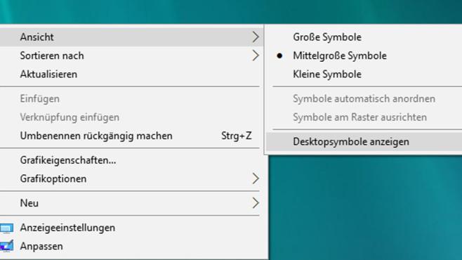 Alle Desktop-Symbole ausblenden©COMPUTER BILD