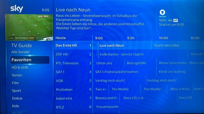 Sky Q Receiver: TV-Guide © COMPUTER BILD
