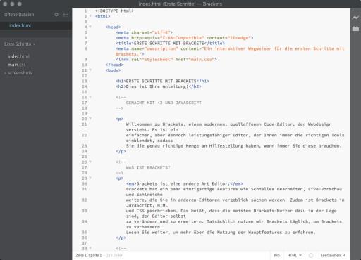 Screenshot 1 - Adobe Brackets (Mac)