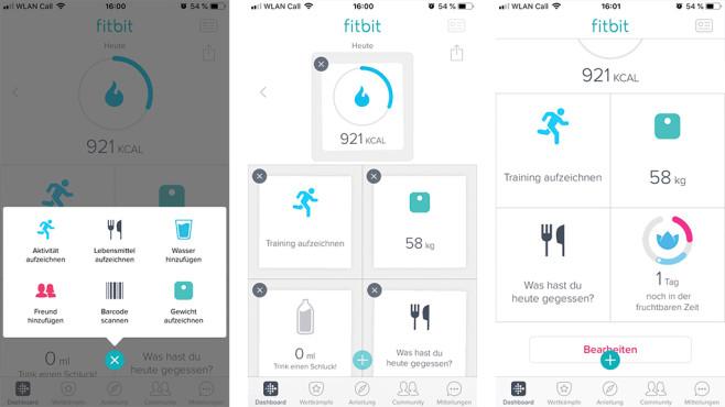 Das Dashboard in der Fitbitt-App ordnen ©COMPUTER BILD