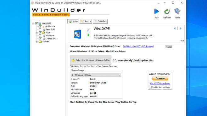 Windows-Reparatur-Stick: So bauen Sie ihr Windows-Rettungmedium selbst Win10PE SE auf Basis des WinBuilders verhilft Ihnen zu einem Notfall-Windows-10.©COMPUTER BILD