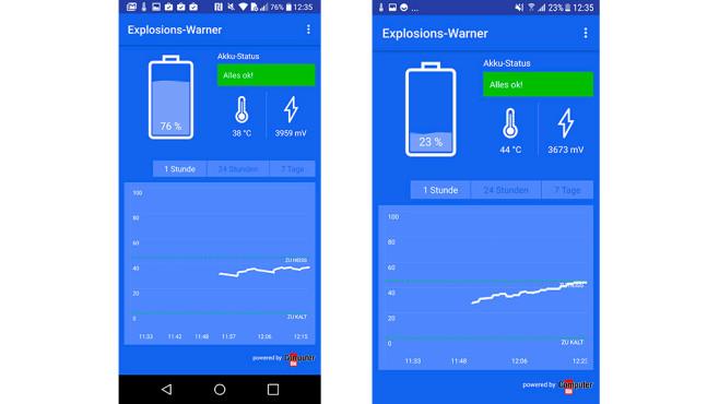 LG G6 und Samsung Galaxy S7: Vergleich der Akku-Temperatur©COMPUTER BILD