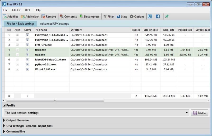 Screenshot 1 - Free UPX