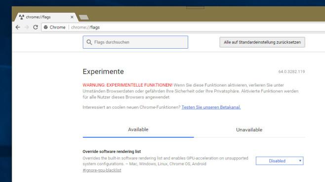 Experimentelle Funktionen freischalten ©COMPUTER BILD