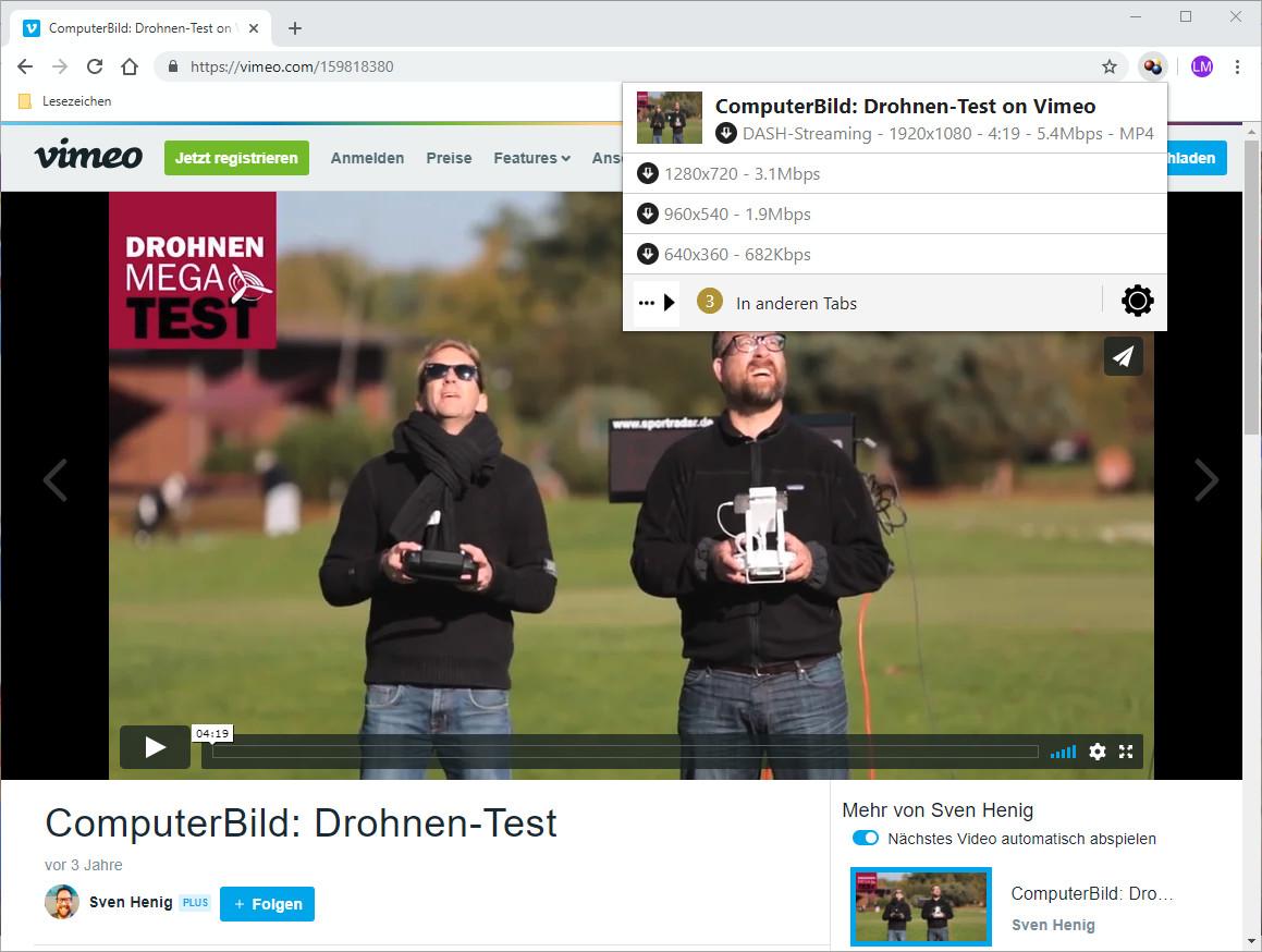 Screenshot 1 - Video DownloadHelper für Chrome