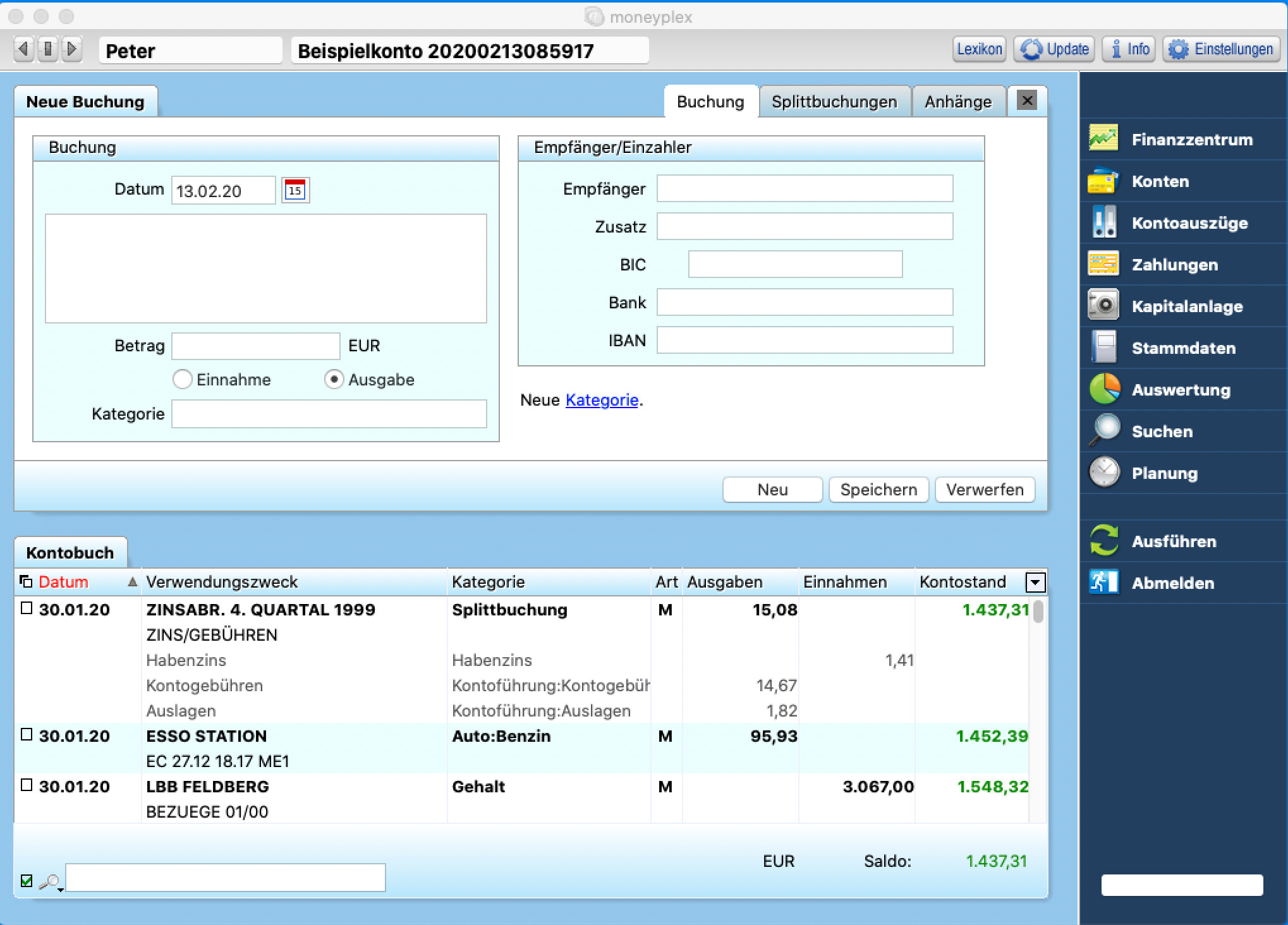 Screenshot 1 - Moneyplex (Mac)