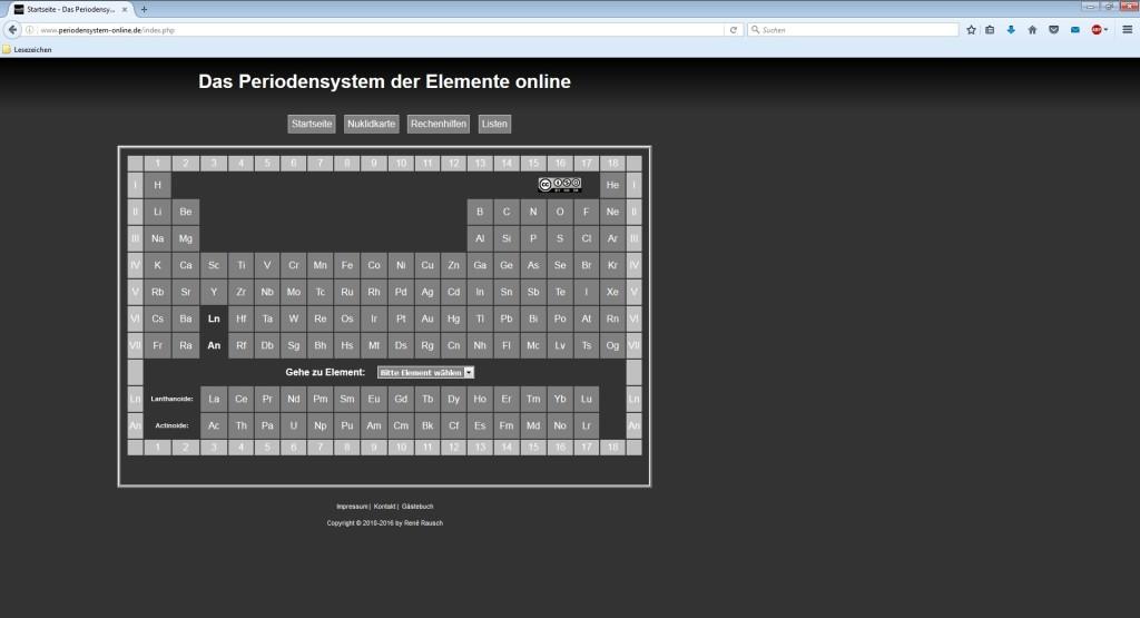 Screenshot 1 - Online-Periodensystem der Elemente