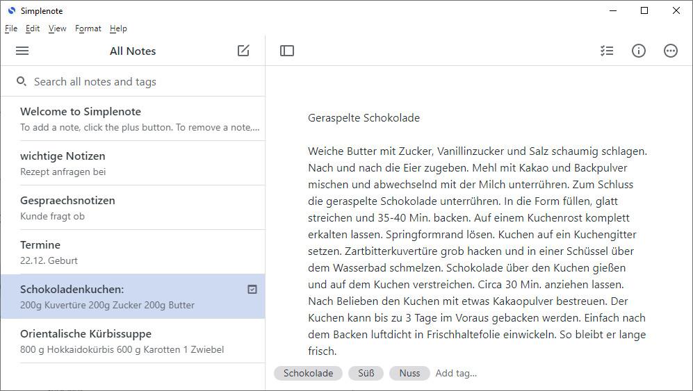 Screenshot 1 - Simplenote