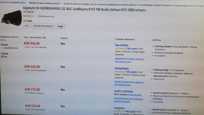 Amazon Marketplace: Fake-Angebot Nvidia GeForce RTX 2080 OC 8G©COMPUTER BILD
