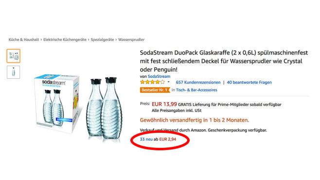 Wassersprudler auf Amazon Marketplace©COMPUTER BILD Screenshot: Amazon.de