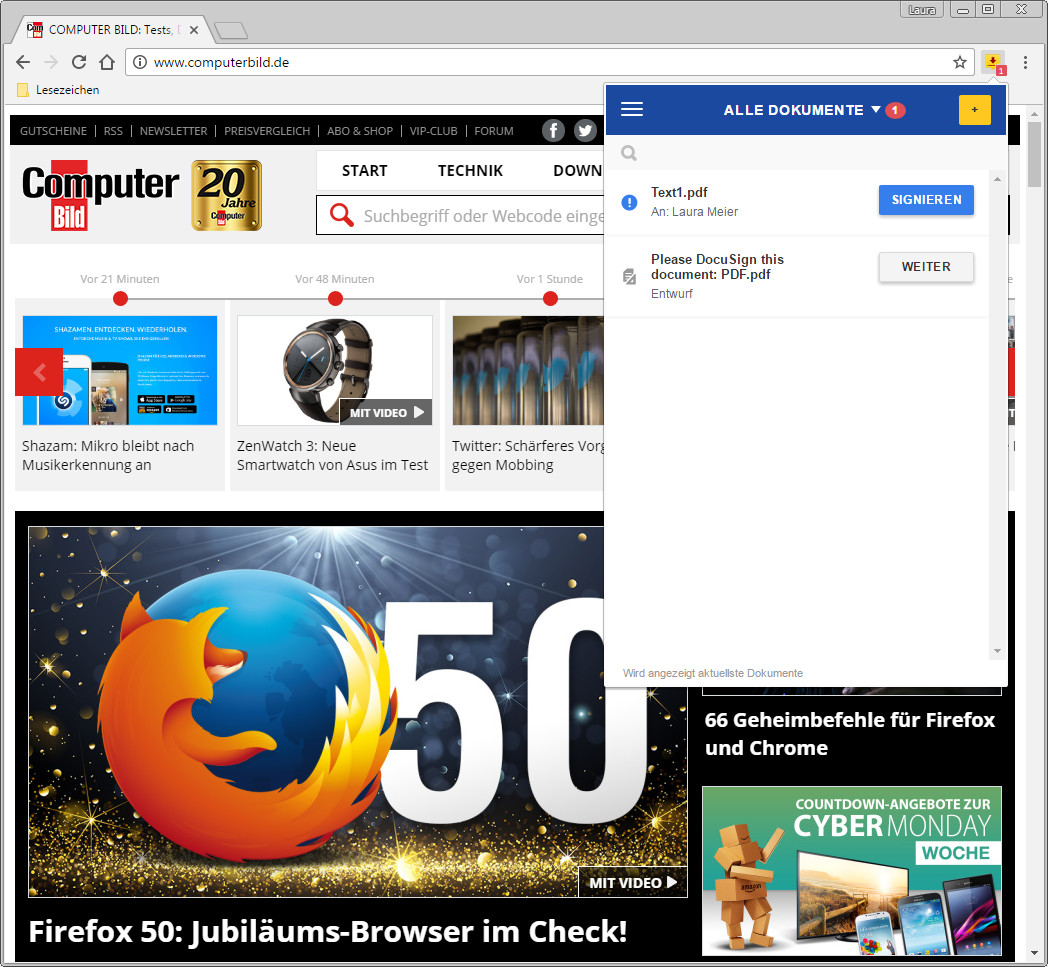 DocuSign für Chrome 20.20.20   Download   COMPUTER BILD