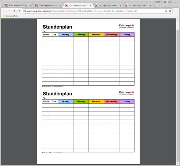 stundenplan zum ausdrucken und gestalten