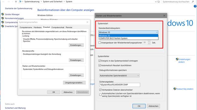 Standardbetriebssystem unter Windows 10 ändern ©COMPUTER BILD