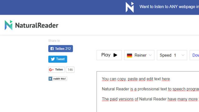 Natural Reader: PC-Stimme im Browser ©COMPUTER BILD