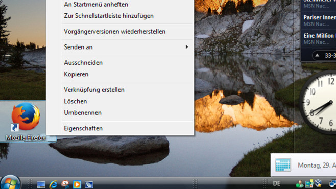 Schnellstart-Kontextbefehl von Vista einfügen ©COMPUTER BILD