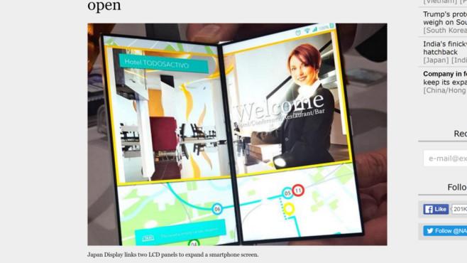 Klappbarer Bildschirm©Japan Display, Nikkei