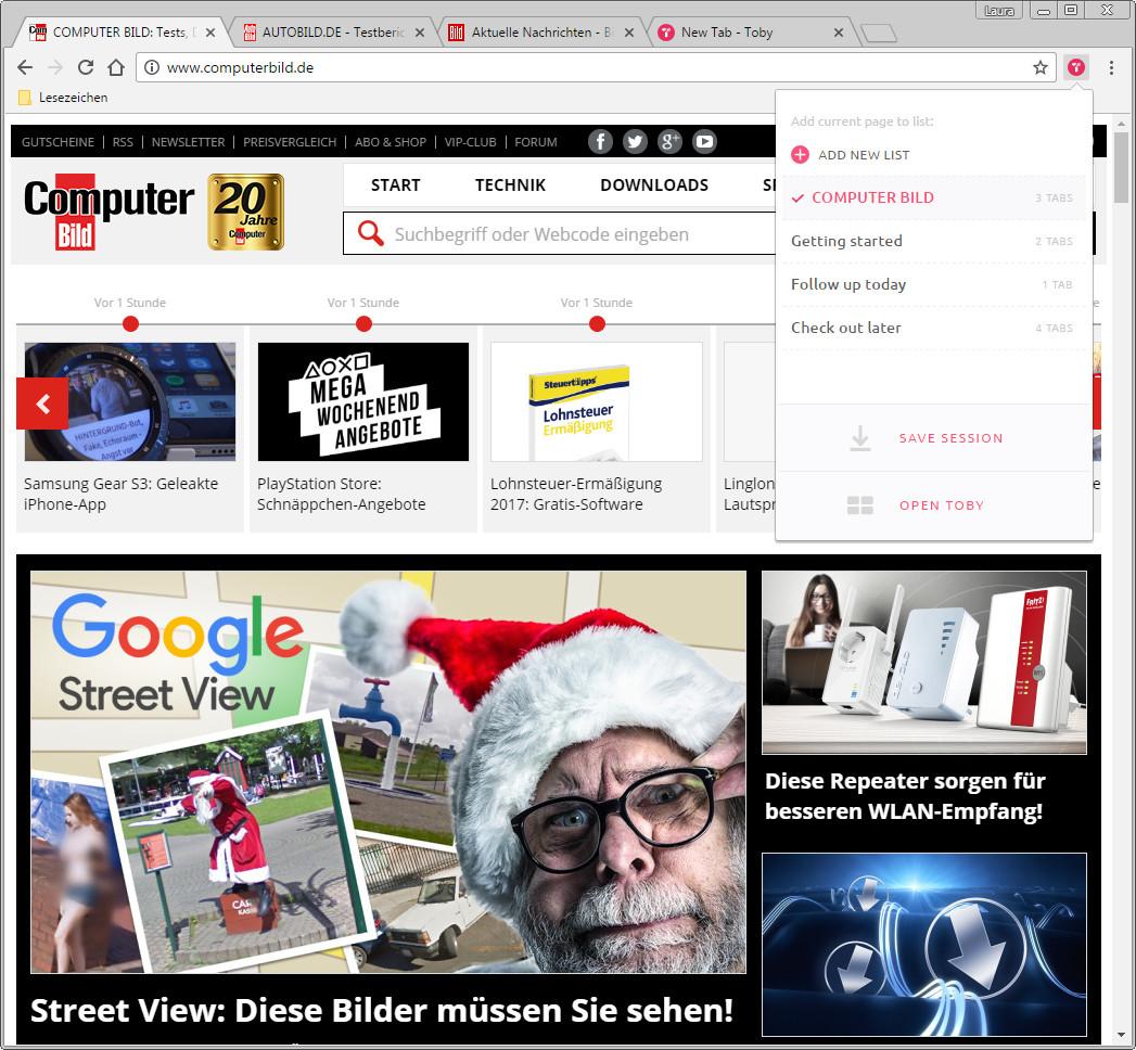 Screenshot 1 - Toby für Chrome