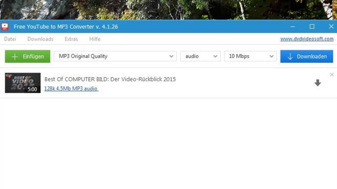 Free YouTube to MP3 Converter ©COMPUTER BILD