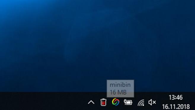 MiniBin: Papierkorb im Infobereich leeren per Doppelklick ©COMPUTER BILD