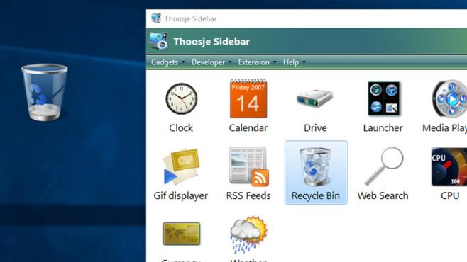 Schnell leeren mit Thoosje Windows Sidebar 8 ©COMPUTER BILD