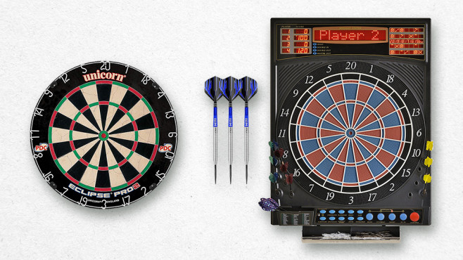 Sisalscheibe, Softdarts, Softdarts-Automat © istock/Zephyr18, Krams, Unicorn, Red Dragon, Dartona