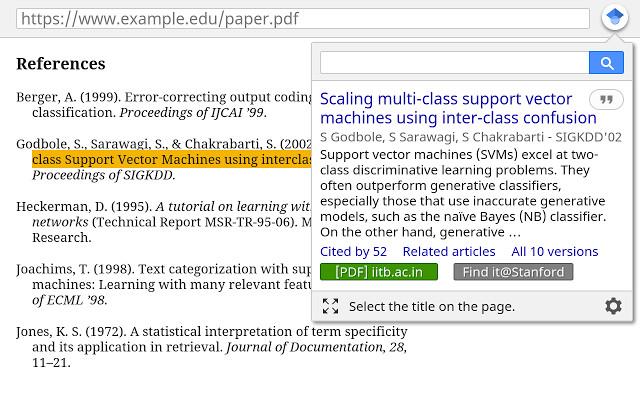 Screenshot 1 - Google Scholar für Chrome