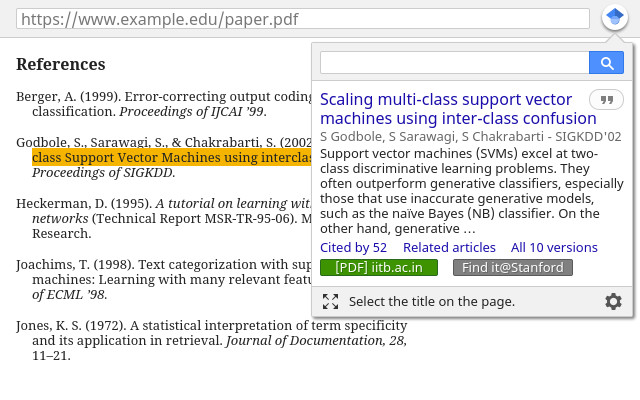 Screenshot 1 - Google Scholar für Firefox
