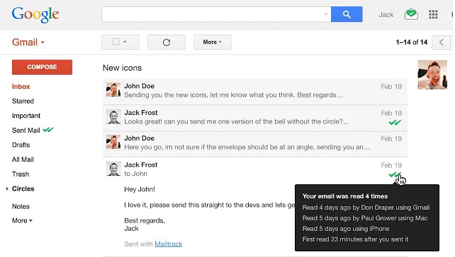 Screenshot 1 - Mailtrack for Gmail für Chrome