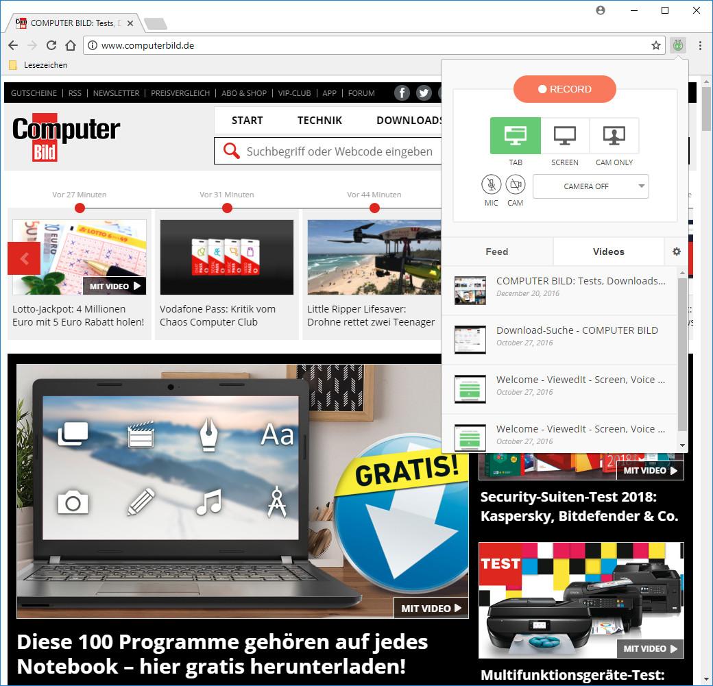 Screenshot 1 - Vidyard GoVideo: Screen and Webcam Recorder für Chrome