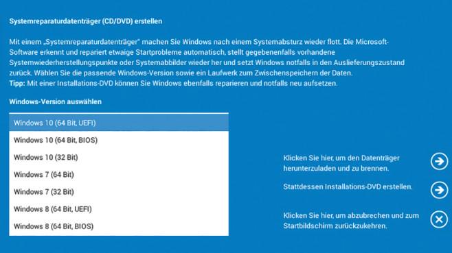Mehr Systemreparaturdatenträger verfügbar ©COMPUTER BILD