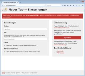 New Tab Override für Firefox