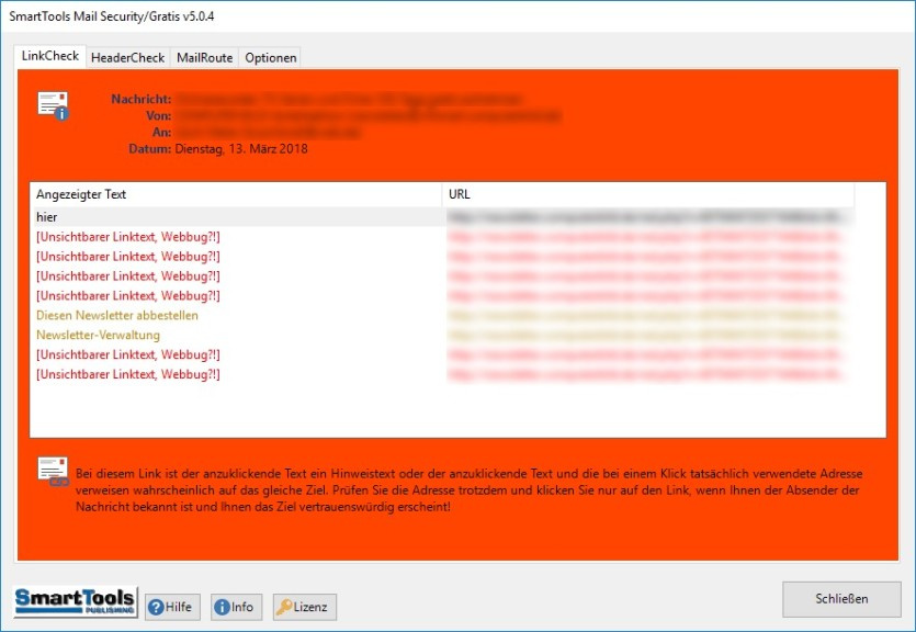 Screenshot 1 - SmartTools Mail Security für Outlook