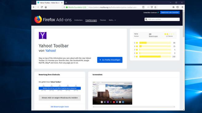 Yahoo Toolbar in Mozillas Add-on-Angebot©COMPUTER BILD