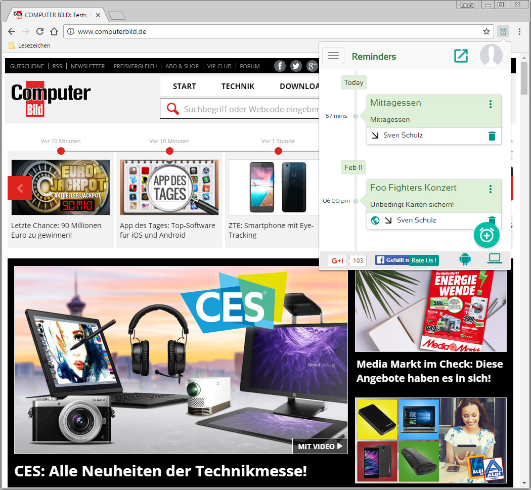 Screenshot 1 - Pi Reminder für Chrome