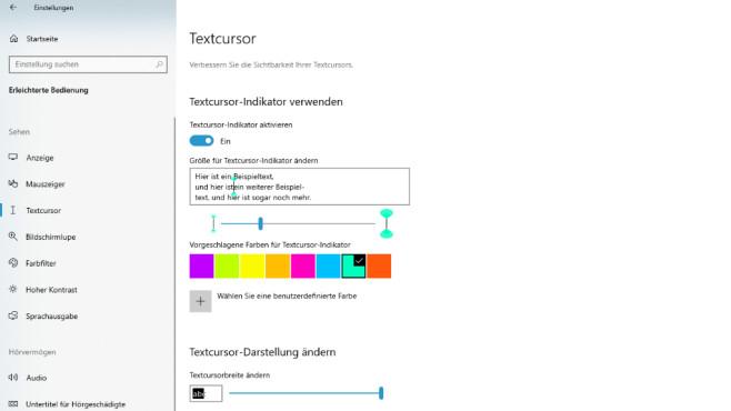 Windows 10 2004: Cursor-Farbe ändern – Einfügemarke einfärben©COMPUTER BILD