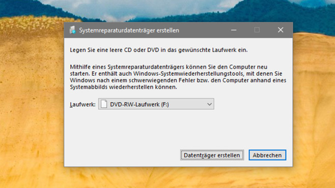 Systemreparaturdatenträger anlegen ©COMPUTER BILD