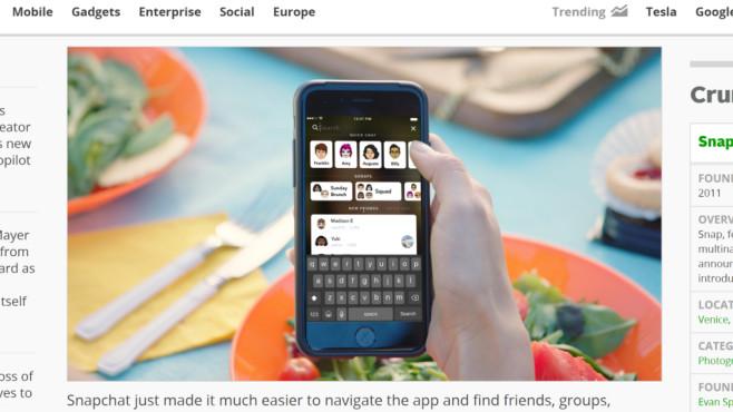 Snapchat Suchfunktion©TechCrunch