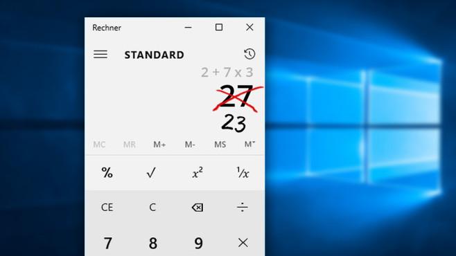 Windows-Taschenrechner rechnet falsch©Microsoft
