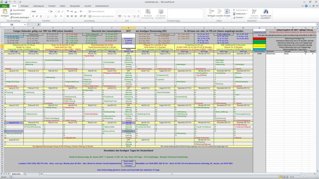 Screenshot 1 - Ewiger Kalender (als Tabellen-Dokument)