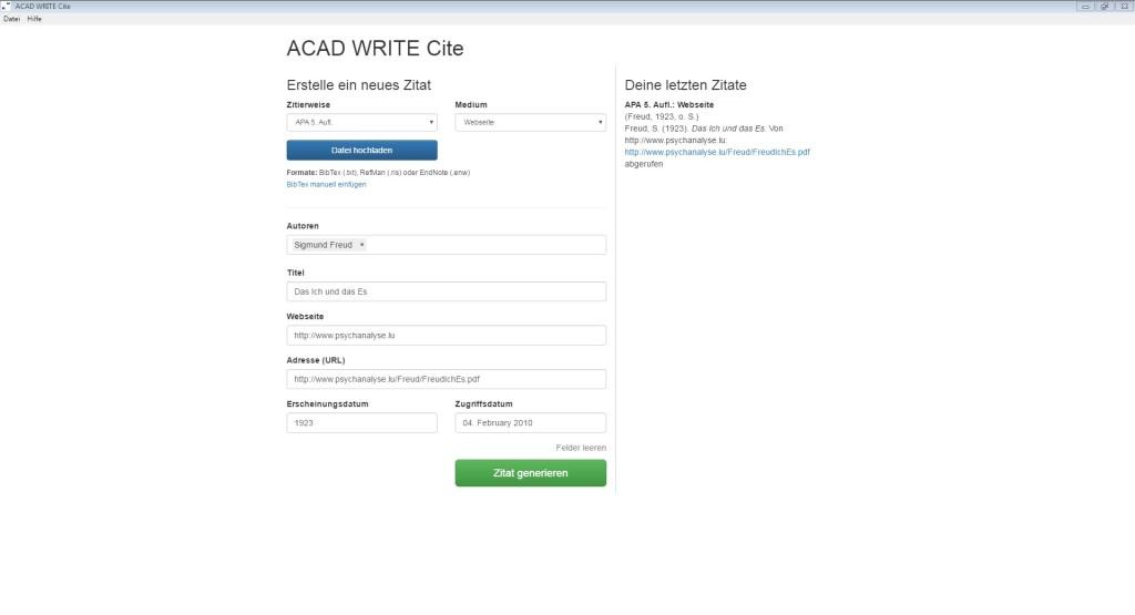 Screenshot 1 - ACAD Write Cite