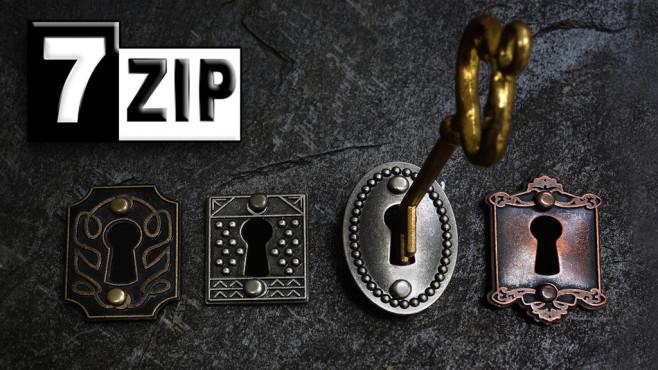7-Zip: ZIP-Dateien verschlüsseln ©Fotolia--zimmytws-Gold key and locks