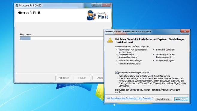 Microsoft Fix it: Internet-Explorer-Einstellungen zurücksetzen ©COMPUTER BILD